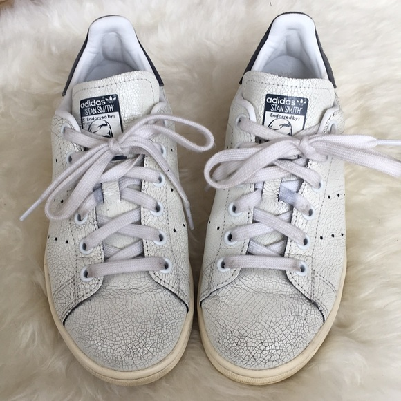 9f25b9831da2c8 adidas Shoes - Adidas Stan Smith navy cracked leather